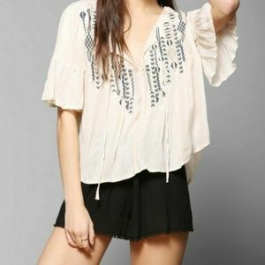 Ecote Urban Outfitters Gauze Bell Sleeve Top
